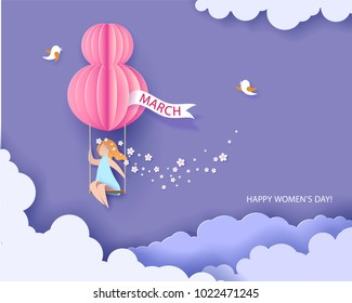 Card for 8 March womens day. Woman on swing. Abstract background with text and flowers .Vector illustration. Paper cut and craft style.