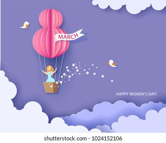 Card for 8 March womens day. Woman in basket of hot air balloon. Abstract background with text and flowers .Vector illustration. Paper cut and craft style.