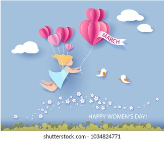 Card for 8 March womens day. Abstract background with text and woman flying with air balloons .Vector illustration. Paper cut and craft style.