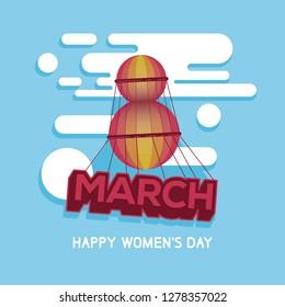 Card for 8 March Women's day. Creative balloon concept