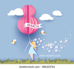 Card for 8 March women's day. Abstract background with text and flowers .Vector illustration. Paper cut and craft style.