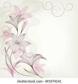 Card  with abstract lily flowers.