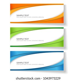 Card with abstract wavy lines Orange blue green stripes Creative element for the design of templates postcards advertisement poster Abstract decorative background for business card template Vector Set