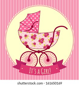 Card with a baby carriage. It's a girl!