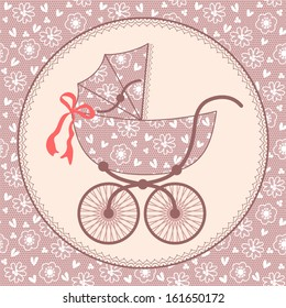 Card with a baby carriage. Lace