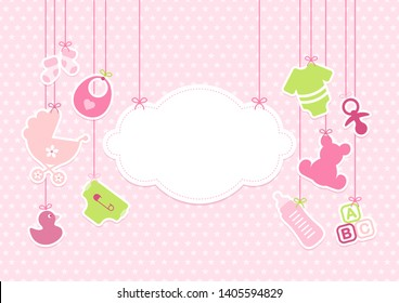 Card Baby Girl Hanging Icons Cloud Stars Pattern Pink