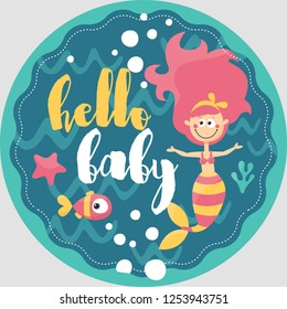 Card baby with mermaid fish, marine, sea, water, wave, star