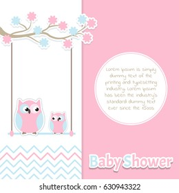 Card Baby Shower with cute couple owls in pastel colors