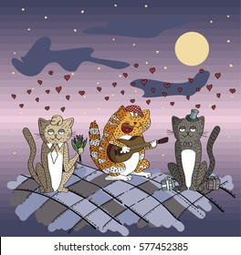 card with background hearts. Cartoon cats sing a song on a moonlit night. cat with gifts. cat with flowers. cat guitarist. Valentine's day