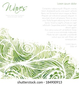 Card background template with green waves