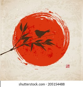 Card with bamboo, bird and big red sun in sumi-e style. Hand-drawn with ink. Vector illustration. Traditional Japanese painting