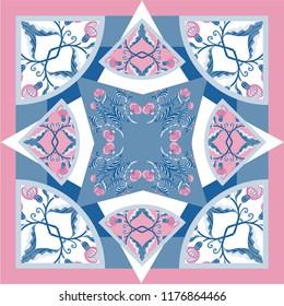 Card, bandana print, kerchief design, napkin Ready for print