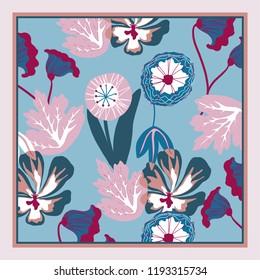 Card, bandana print, kerchief design, napkin. Ready for print.