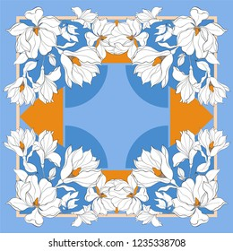 Card, bandana print, kerchief design, napkin. Dark blue beige ornate pattern on pastel vlue. Ready for print.