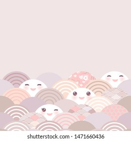Card banner, baby shower. Kawaii with pink cheeks and winking eyes simple Nature trend background with japanese sakura flower, rosy pink Cherry, wave circle pattern, pink, lilac, gray, coral. Vector
