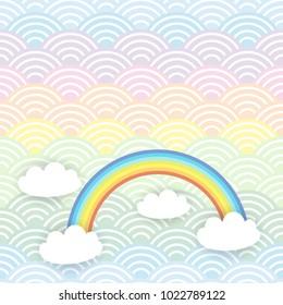 Card banner design Kawaii white clouds pattern on blue mint orange japanese wave rainbow background. Vector
