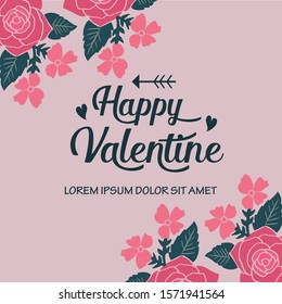 Card or banner of happy valentine with abstract leaf floral frame background. Vector