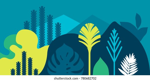 Card, banner, invitation with tropical landscaping, plants, trees, hills and mountains. Preservation of the environment, ecology. Natural parks, tourism, outer space. Flat style. Vector illustration.