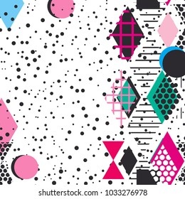 Card banner template frame for your text. Geometric Memphis Postmodern Retro fashion style 80-90s. asymmetrical shapes. pink black blue green background. Vector
