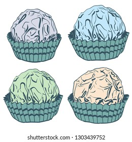 Card banner template, pattern Candy chocolate truffles in foil and paper cup. Drawing by hand sketch doodles. beige green blue gray isolated on white background. Vector