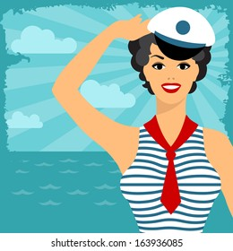 Card with beautiful pin up sailor girl 1950s style.
