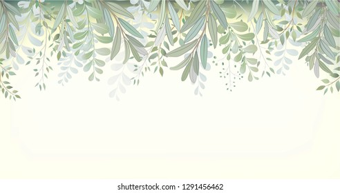 Card with beautiful twigs with leaves. Wedding ornament concept. Imitation of watercolor. Sketched wreath, floral and herbs garland