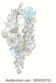 Card with birds and flowers, line drawings, ink drawing, hand drawn illustration