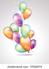 Card to birthday, with balloons