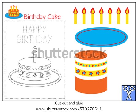 Card Birthday Cake With A Paper Application Details And Writing Practice The Template
