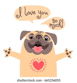 Card to the birthday or other holiday with cute pug and a declaration of love. Vector illustration.