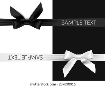 card with black and white bow