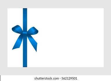 Card with blue bow, has space for text on background. Vector image.