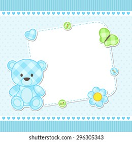 Card with blue teddy bear for boy. Vector template with place for your text