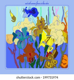 Card with blue and yellow irises  on cold background and text.