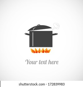 Card with boiling pot on fire. Vector illustration.