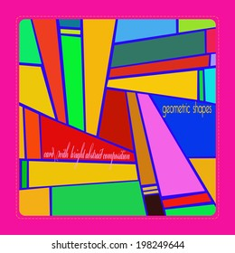 Card with bright abstract composition with text in a rounded rectangle.