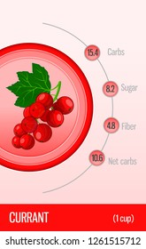 Card carbohydrates, sugar and fiber in fruits. Currant. Information for dietitians and diabetics. Healthy lifestyle. Vector