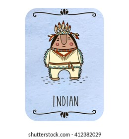 Card with cartoon indian on watercolor background. Vector and illustration design.