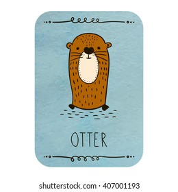 Card with cartoon otter on watercolor background. Vector and illustration design.