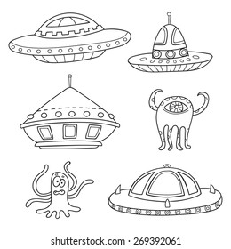Card with cartoon space objects: ufo rockets, aliens isolated in white. Hand-drawn elements in space theme for UFO Day
