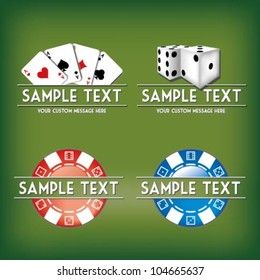 Card and casino related vector mark collection with chips, dices, cards and place for Your custom text