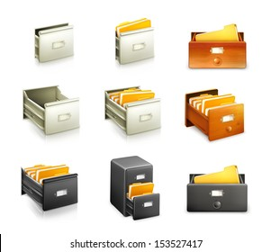Card catalog, set of vector icons