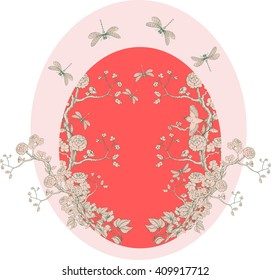 Card in chinoiserie style with peonies, dragonfly and bird on white background for wedding, scrapbooking, wallpaper and other design.