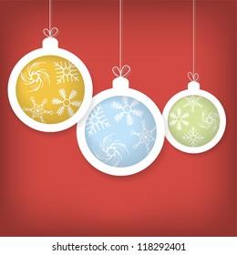 Card with Christmas balls vector eps10