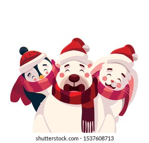 card of christmas with cute animals in white background vector illustration design