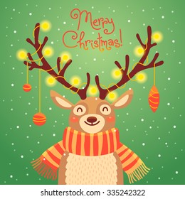 Card with christmas santa reindeer. Cute cartoon deer with garlands on the horns and scarf.  Vector illustration