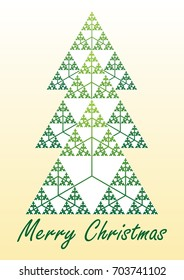 Card with christmas tree composed of fractal element Sierpinski triangle, vector EPS 10