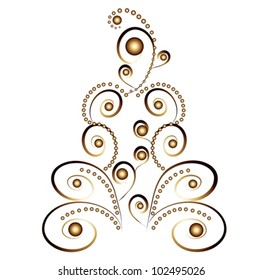 card christmas tree, golden ornaments on white background - vector illustration