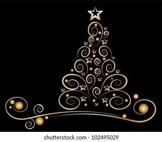 card christmas tree, golden ornaments on black background - vector illustration