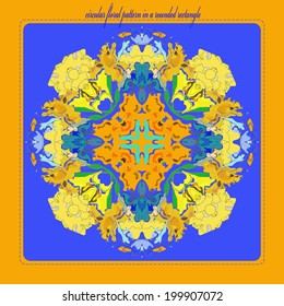 Card with circular floral ornament and text in a blue rounded rectangle.